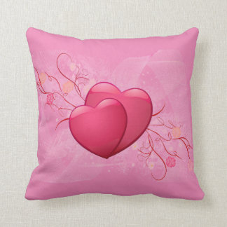 Cute two heart pink design throw pillow