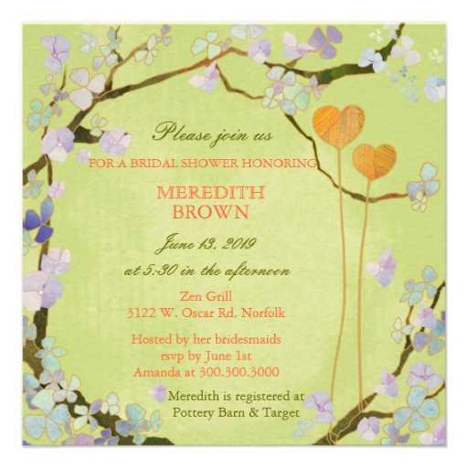 Cute Two Hearts Green Modern Floral Bridal Shower Custom Invitations