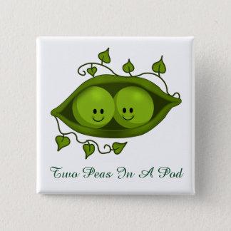 Cute Two Peas In A Pod 2 Inch Square Button