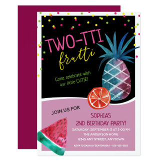 Cute Two-tti Frutti Second Birthday Party Card