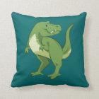 Cute Tyrannosaurus Rex Cartoon Throw Pillow