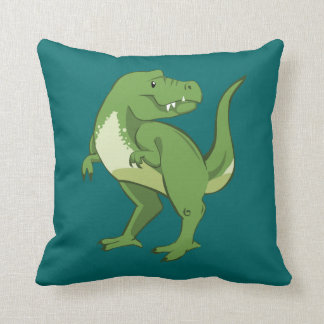 Cute Tyrannosaurus Rex Cartoon Throw Pillow