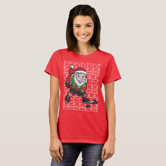Cute Ugly Christmas Sweater Hockey Santa Claus