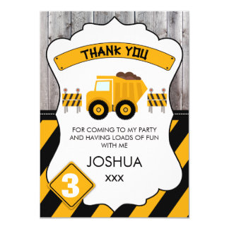 Cute Under Construction Birthday Thank You Card