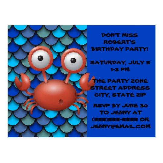 Cute Under the Sea  Birthday Invitation Postcard