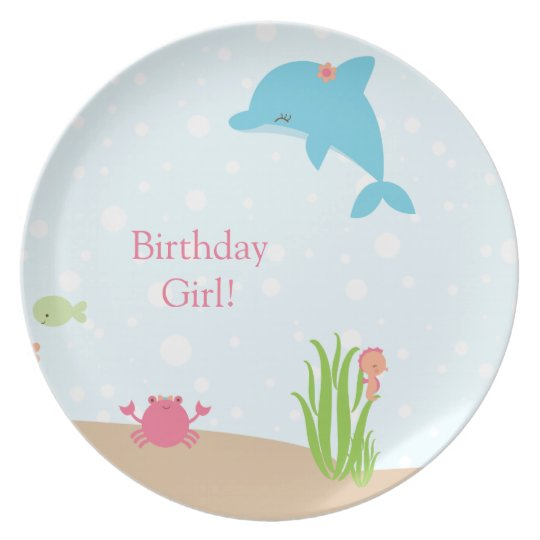 Cute under the Sea girls personalized plate