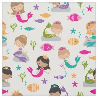 Cute Under the Sea Mermaid and Fish Fabric