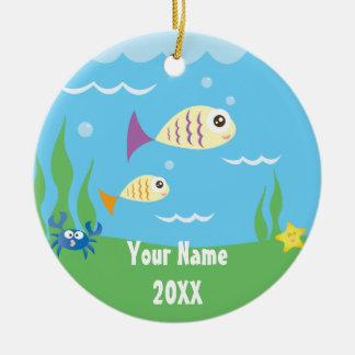 Cute Under The Sea Ocean Aquarium Add Your Name Round Ceramic Ornament
