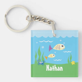 Cute Under The Sea Ocean Fish Starfish And Crab Double-Sided Square Acrylic Keychain