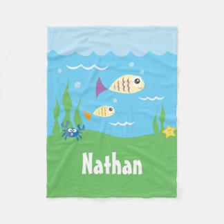 Cute Under The Sea Ocean Fish Starfish And Crab Fleece Blanket