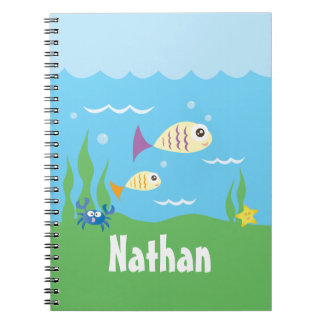 Cute Under The Sea Ocean Fish Starfish And Crab Notebook