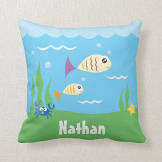 Cute Under The Sea Ocean Fish Starfish And Crab Throw Pillow