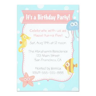 Cute Underwater Animals Birthday Party Card