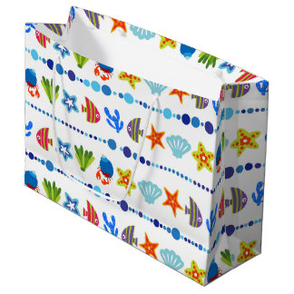 Cute Underwater Animals Pattern Large Gift Bag
