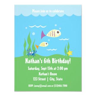 Cute Underwater Ocean Aquatic Birthday Invitation