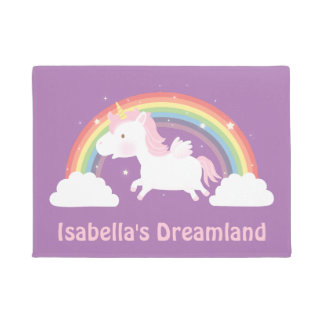 Cute Unicorn and Rainbow Girls Room Door Mat
