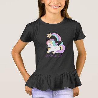 Cute Unicorn Birthday Custom Number Typography Art T-Shirt