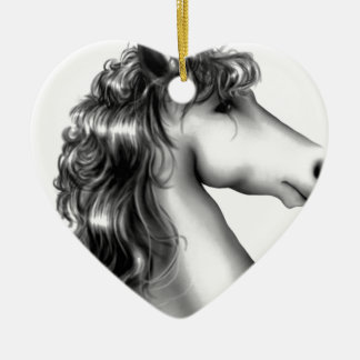 cute unicorn ceramic heart ornament