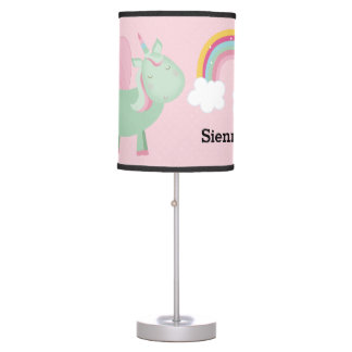 Cute Unicorn * Choose your background color Table Lamp