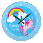 Cute Unicorn Custom Blue Large Clock