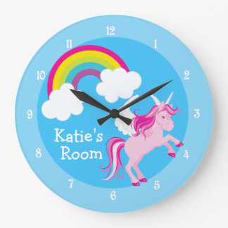 Cute Unicorn Custom Blue Large Clock