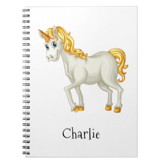 Cute Unicorn custom name notebook
