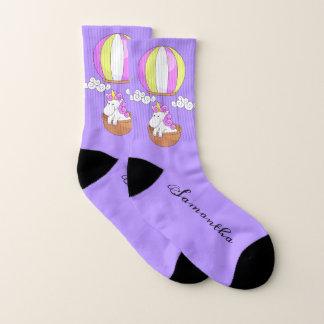 Cute Unicorn custom name socks 1