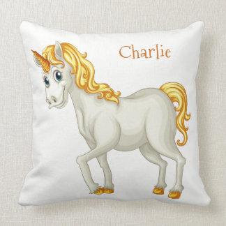Cute Unicorn custom name throw pillows