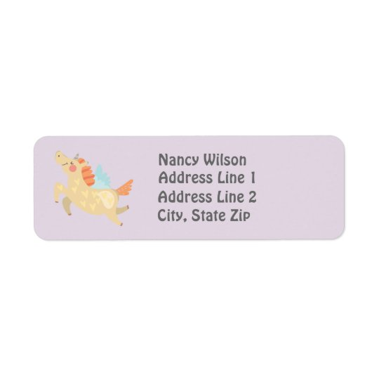 Cute Unicorn Custom Return Address Label