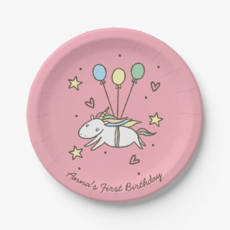 Cute Unicorn Flying on Balloons Birthday Paper Plate