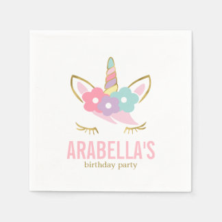 Cute Unicorn Girls Birthday Party Napkin