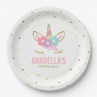 Cute Unicorn Girls Birthday Party Paper Plate