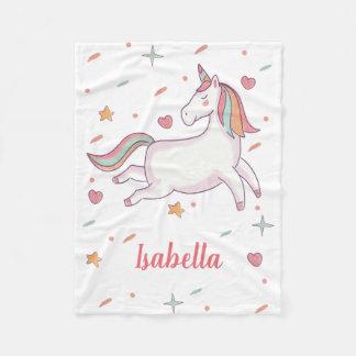 Cute Unicorn Hearts and Stars Personalized Fleece Blanket