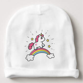 Cute Unicorn On A Rainbow Design Baby Beanie