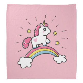 Cute Unicorn On A Rainbow Design Bandana