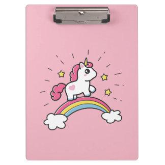 Cute Unicorn On A Rainbow Design Clipboard
