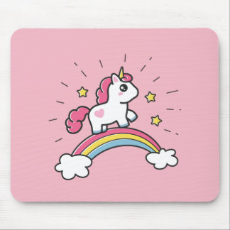 Cute Unicorn On A Rainbow Design Mouse Pad