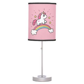 Cute Unicorn On A Rainbow Design Table Lamp