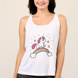 Cute Unicorn On A Rainbow Design Tank Top
