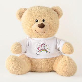 Cute Unicorn On A Rainbow Design Teddy Bear