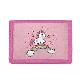 Cute Unicorn On A Rainbow Design Tri-fold Wallet