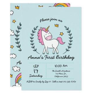 Cute Unicorn on Laurels. Birthday Card