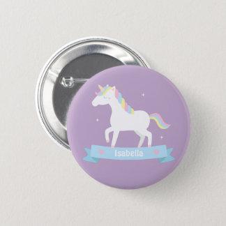 Cute Unicorn Pastel Girls Personalized Button