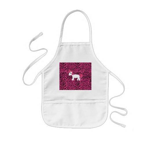 Cute unicorn pink leopard print apron