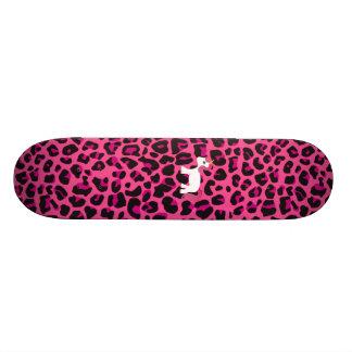 Cute unicorn pink leopard print skate board decks