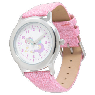 Cute unicorn pink purple white girly pastels watch