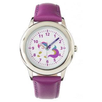 Cute unicorn pink purple white watch