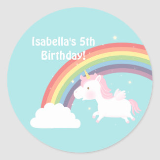 Cute Unicorn Rainbow Girls Birthday Party Classic Round Sticker