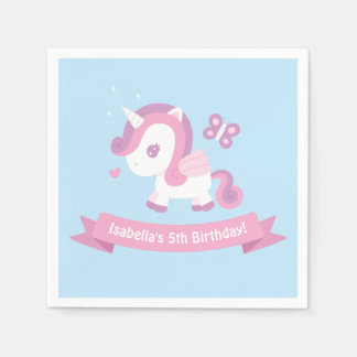 Cute Unicorn Wings Girls Birthday Party Napkins Disposable Napkin