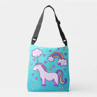 Cute unicorn with a rainbow crossbody bag